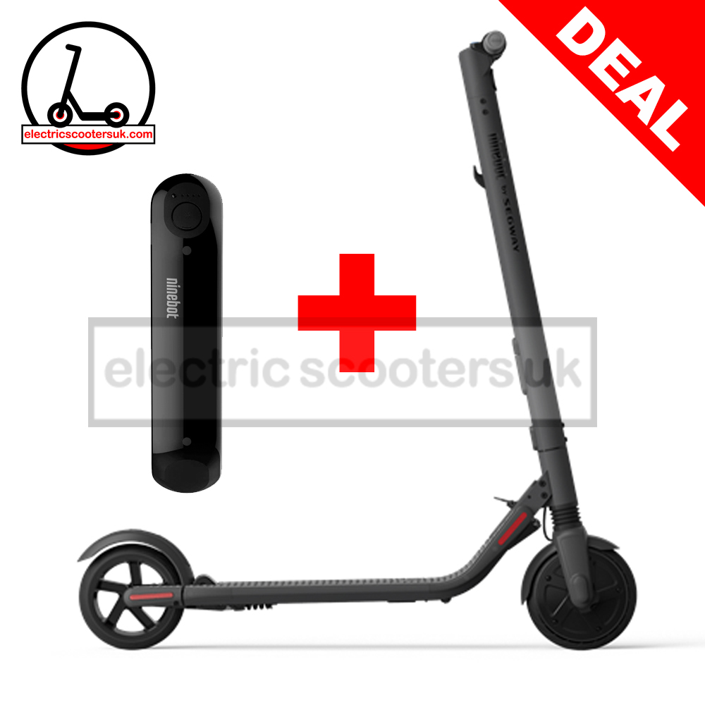 Ninebot by Segway KickScooter ES4 Combo Deal - (ES2 + Extended Battery)  DARK GREY